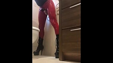Latex sissy wall riding dildo hard and fast in chastity
