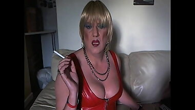Smoking Fetish British Mature Tranny Preview 2