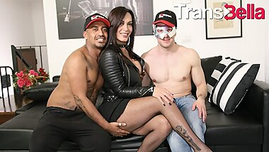 Trans Bella - Rough Anal Fucking With Hot Tranny And Two Lucky Guys