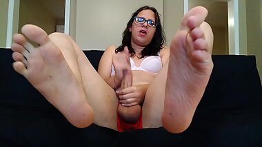 Shemale Amy Valentine Covers Herself and Feet In Piss with Dirty Talking
