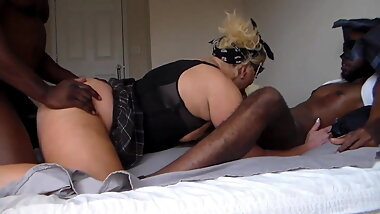 Chubby amateur tranny used by two BBC.part one